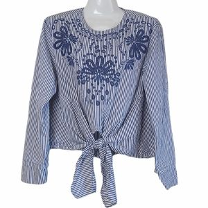 Zara Striped Tie Front Embroidered Eyelet Top L